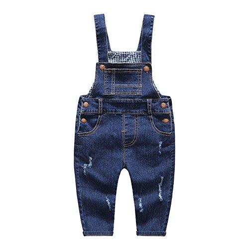 KIDSCOOL SPACE Baby & Little Boys/Girls Blue & Black Denim Overalls,Jean Workwear - azul - 3-4 años