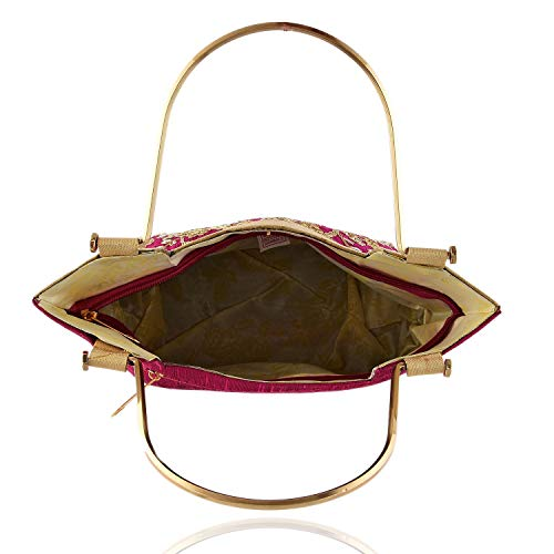 Kuber Industries Handcrafted Embroidered Clutch Bag Purse Handbag for Bridal, Casual, Party, Wedding, Metal Handle (Pink) CTKTC034225