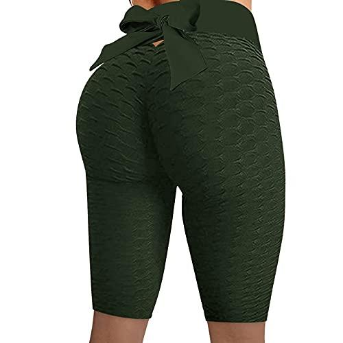 Pantalones cortos de yoga para mujer, pantalones cortos de gimnasio con lazo, control de barriga, pantalones cortos para correr