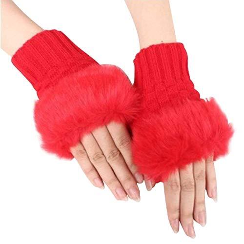 Demarkt–Invierno Cálidos Guantes Mujeres Halbe Finger Guantes Felpa Grosor Guantes de Punto Abierta Touch Guantes, Color Rojo, tamaño 15 * 5cm