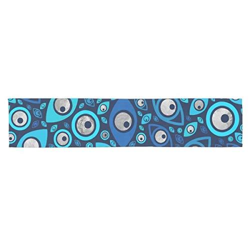 CICIDI Camino de mesa corto con diseño de mal ojo griego azul y plateado #2, mantel para fiestas, cenas, vacaciones, cocina 33 x 70 pulgadas