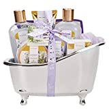 Spa Luxetique Spa Gift Baskets for Women, Lavender Bath Sets for Women, Luxury 8 Pcs Home Bath Gift Set Includes Body Lotion, Bath Bombs, Bath Salt, Bubble Bath, Best Spa Gift Set for Women.