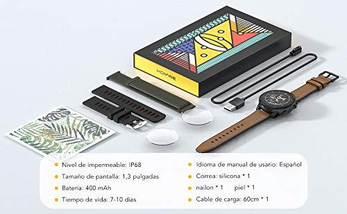 Reloj Inteligente Hombre, Hommie Smartwatch Hombre de Pantalla Táctil Ccompleta Impermeable IP68, Pulsera de Actividad Inteligente con 9 Deportes, Pulsómetro,Sueño,GPS,Caloría,3 Correas, iOS y Android miniatura