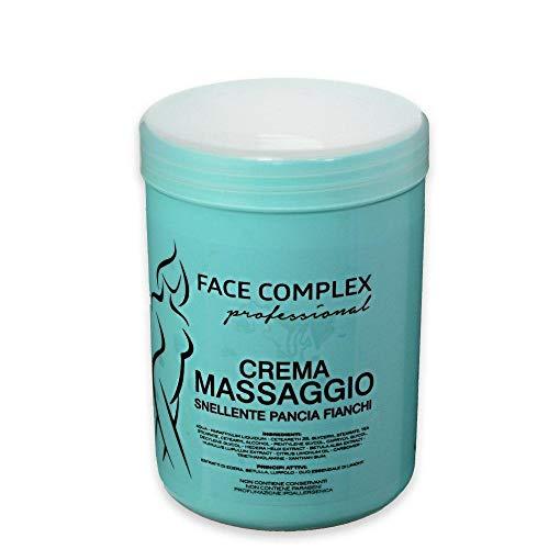Crema para masaje profesional adelgazante Belly Hips 1000ml, crema con Extractos de hiedra - Abedul - Lúpulo - Aceite esencial de limón