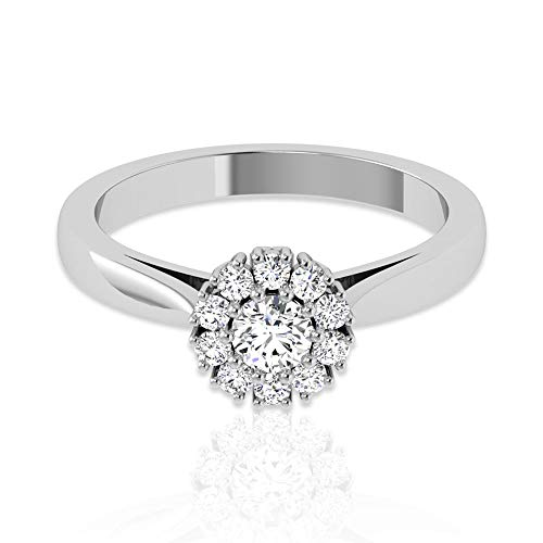 Art Deco - Anillo de compromiso con halo de diamante certificado IGI de 0,53 ct, boda nupcial vintage HI-SI, 18K Oro rosa, Size:EU 65