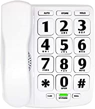 HePesTer P-02 Amplified Large Button Corded Phone for Senior Home Landline Telephone Wall Mountable Elderly Phones for Low Vision Single Line Phone for Blind with Extra Loud Ringer(White)