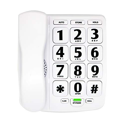 HePesTer P-02 Amplified Large Button Corded Phone for Senior Home Landline Telephone Wall Mountable Elderly Phones for Low Vision(White)