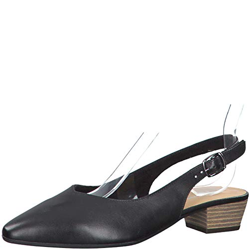 Tamaris Damen Pumps 29405-24, Frauen Sling-Pumps, büro-Pumps bequem elegant weibliche Lady Ladies feminin,Black Leather,38 EU / 5 UK