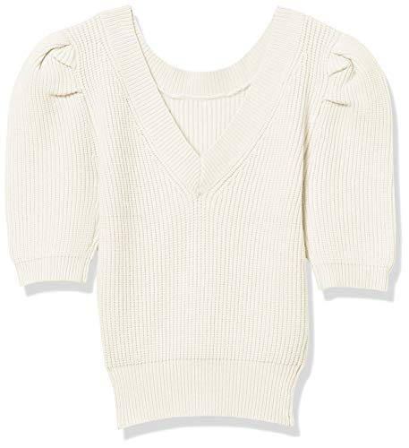 ASTR the label Women's Elbow Sleeve V-Neck Villa Sweater, Off-White, XS