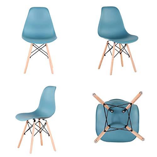 Silla de oficina para el hogar, sillas de comedor ergonómicas escandinavas con patas de material de madera para cocina, comedor, sala de estar, muebles del hogar, juego de 4 (verde)