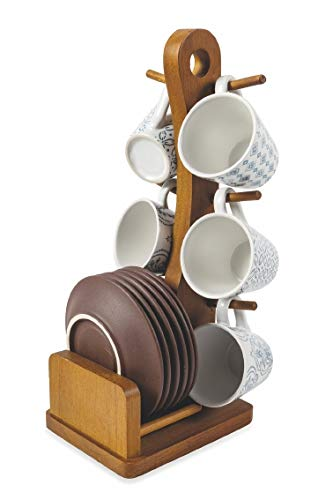 Villa d'Este Home Tivoli 5902999 Bali Kaffeetassen-Set mit Stand, Steingut, 6 Stück