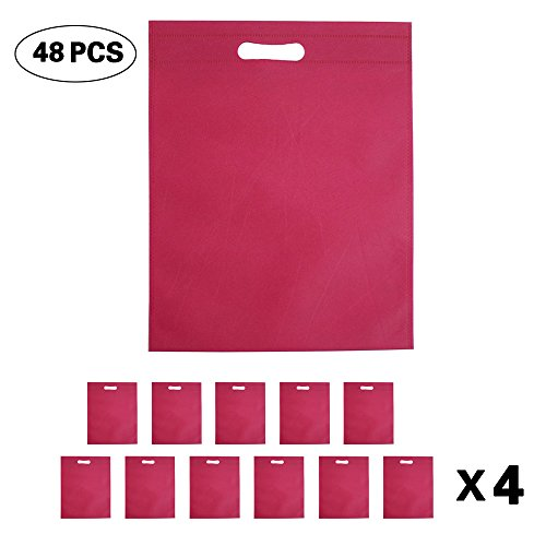Set of 48 Promotional Nonwoven Heat Seal Reusable Tote Party Favor Bag, Goodie Bags, Gift Bags Bulk With Die Cut Handles (Magenta)
