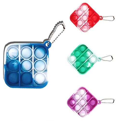 Pop It Simple dimple Fidget Toy Mini Stress Relief Hand Toys Keychain Toy Push Pop Bubble Wrap Pop Anxiety Stress Reliever Office Desk Toy for Kids Adults (Camouflage 4 Pieces)