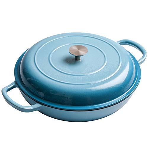ROYWY cazuelas,olla hierro fundido,cookware,Colección Hierro Fundido Cacerola Baja,Redondo, Apto para todas las fuentes de calor, incluida la cocina de inducción, Fácil de limpiar