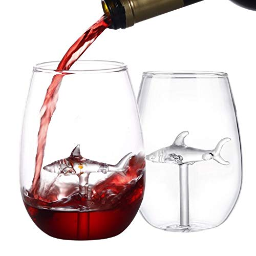 HOMEACC Shark Stemless Wine Glass Set of 2,for Red and White Wines Outdoor Drinkware Funny Shark Cup