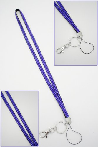 Purple Crystal Lanyard Keychain Card Holder