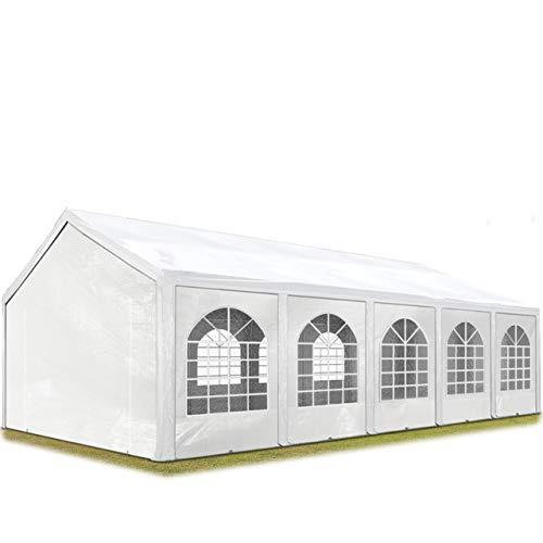 TOOLPORT Tente de réception 4x10 m, Toile de Haute qualité env. 240g/m² PE Blanc Construction en Acier galvanisé avec raccordement par vissage