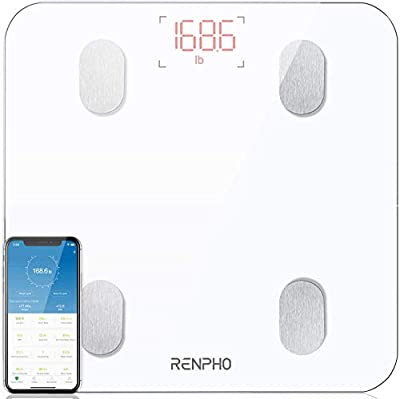 Bluetooth Body Fat Scale, RENPHO Digital Smart Bathroom Weight Scales for Body Composition Analyzer with Smartphone App, 13 Body Composition Measurements for Fitness, White