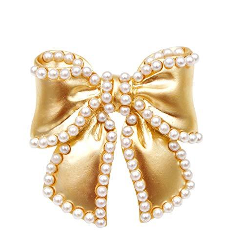 COLORFULTEA Broches con Lazo De Perlas para Mujer, Color Dorado Mate, Pequeños...