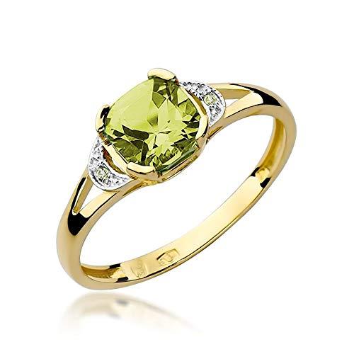 Damen Ring 585 14k Gold Gelbgold echt Peridot Edelstein Diamanten Brillanten