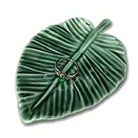 HOME SMILE Leaf Trinket Dish Decorative Ring Dish Holder for Jewelry Engagament Wedding Birthday Gifts [並行輸入品]