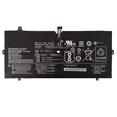 SUNNEAR L14L4P24 7.6V 66Wh 8820mAh Laptop Battery Replacement for Lenovo Yoga 900 13ISK 80SD 80MK 13ISK2 80UE 900-IFI 900-ISE Series Notebook 5B10H55224 L14M4P24 5B10H43261