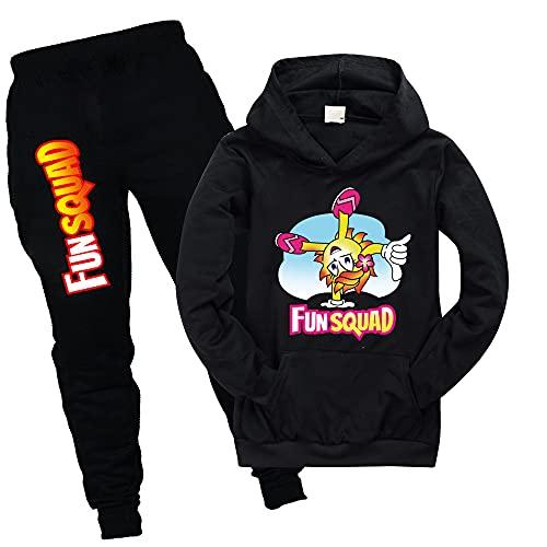 Fun Squad - Sudaderas con bolsillo para niños, unisex, con capucha y pantalones para niños, chándal para niños y niñas