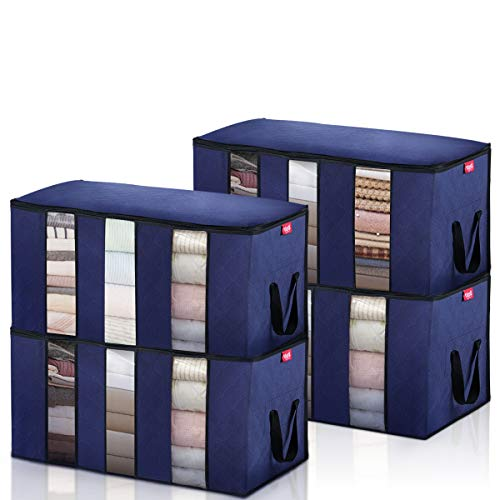 JOYXEON Clothes Storage Bag, 4-Pack Clothes Organizers Large Capacity Comforter Storage Bags Reinforced Handle Stainless Steel Zippers for Blankets,Bedding,Clothes(Blue)