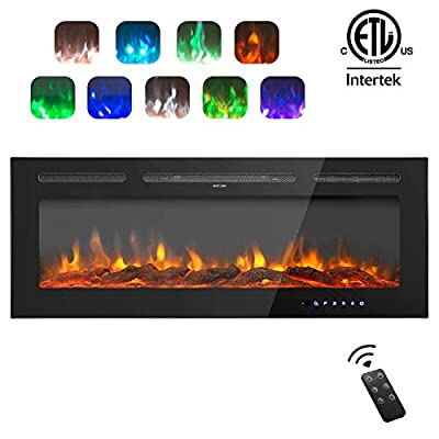 AuAg 60 inch Electric Fireplace 1500/750W Wall Mounted and Built LED Heater Room heaters with Remote Control Temperature Adjustable Timer Multifunction 9 Flames Settings Log & Crystal 2 Decorations