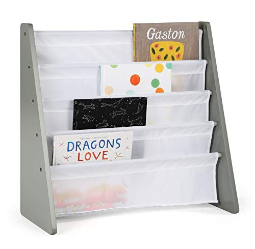 Tot Tutors Kids Book Rack Storage Bookshelf, Grey/White