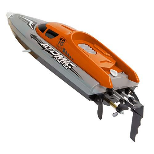 YYLI Ferngesteuertes Boot, Boot Fernbedienungsboot Mit 25 Km/H Wasserdichtem IPV7-Hochgeschwindigkeits-2,4-Ghz-4-Kanal-Rennboot Für Kinder Und Erwachsene,Orange