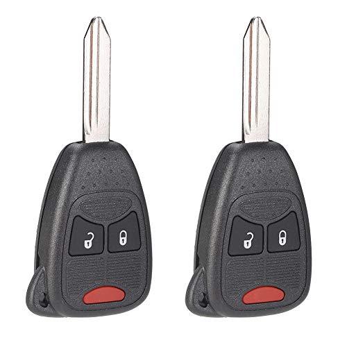 OHT692713AA 2 Stücke 2 + 1 Tasten Auto Keyless Fernbedienung Schlüsselanhänger Fit für Patrioten Kompass OHT692427A Schwarz Farbe ABS Material