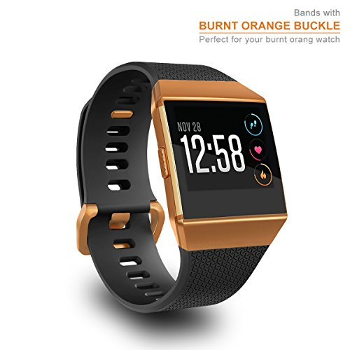 AIUNIT Compatible Ionic Bands for Men Women Teens Kids Black Large with Burnt Orange Buckle, Replacement Strap Sport Accessory Wristband for Ionic Smart Watch Black
