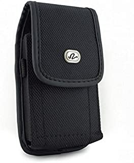 Black Rugged Canvas Side Case Cover Protective Pouch Belt Clip for BLU Life One X2 - BLU Life One X3 - BLU R1 Plus - BLU Vivo 5 - BLU Vivo 5R