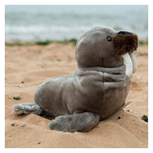 JSJJRFV Plush toys New Simulation Walrus Plush Toys Soft Cute Seal Sea Animals Stuffed Doll Creative Gifts gift (Color : Gray, Height : 27cm)