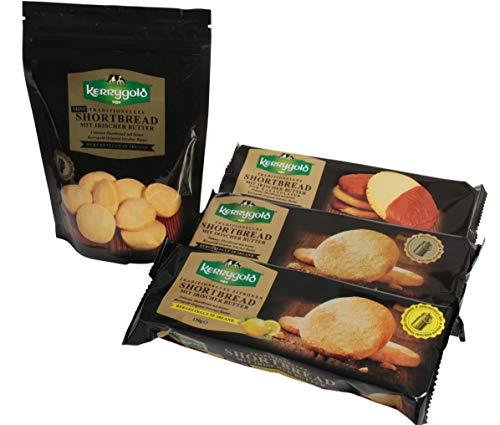 Kerrygold Shortbread - Irish Butter Biscuits - Traditionelles Irisches Mürbeteiggebäck, Original-1x150g, Zitrone-1x150g, Mini-1x150g, Kakaoglasur-1x150g