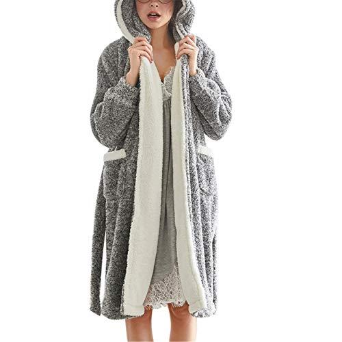 Damas Autumn Pijamas Albornoz Tops Otoño e Invierno Señoras Faldas de Encaje Faldas de Invierno Ropa de Pijamas para Usar en casa por Varias Temporadas (Color : Gris, Size : XL)
