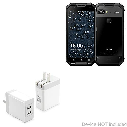 AGM X2 Pro Charger, BoxWave [Dual High Current Wall Charger] 2 USB Port Rapid Wall Charger for AGM X2 Pro - White
