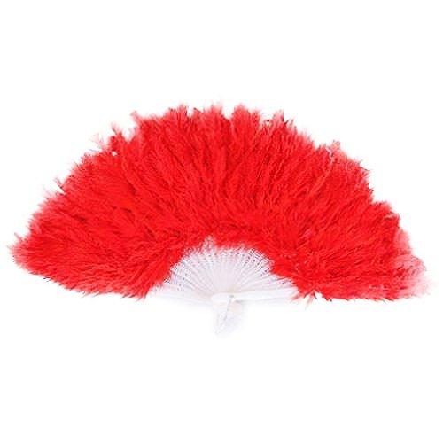 SODIAL (R) Donna ventaglio della piuma 1920 MOULIN ROUGE BURLESQUE Costume ACCESSORIO - Rosso