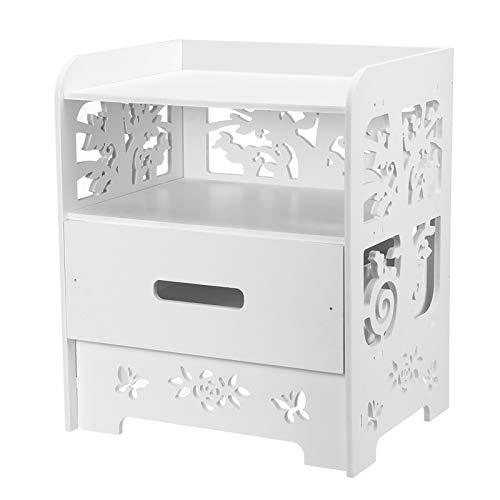 ZZFF Mesita de Noche Dormitorio mesita de Noche Caja de Almacenamiento (Color : White)