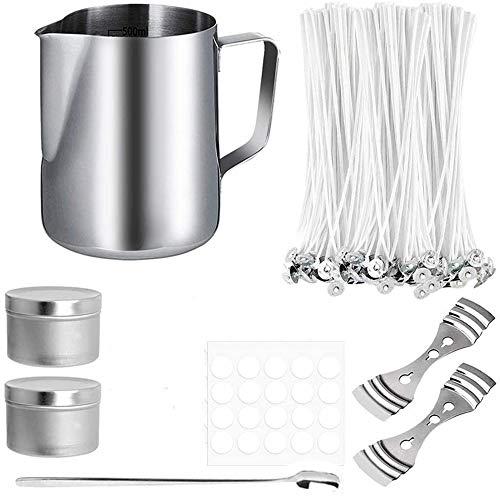 HNSHAG - Juego de herramientas de cera para aromaterapia, hecho a mano, 600 ml, taza de medición, cuchara mezcladora, soporte fijo, mecha de algodón, lata de aluminio, parche