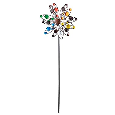 Colorful Confetti Solar Lighted Double Sided Kinetic Wind Spinner Garden Art Stake, 47 5/8 H