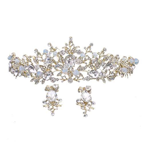 Lurrose Tiara nupcial de la corona de la hoja del cristal del oro elegance con los pendientes para las mujeres (blanco, pendientes al azar)
