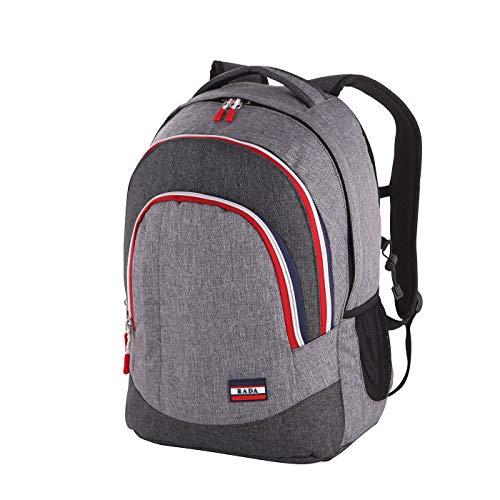 Rada Rucksack RS/2, Freizeitrucksack, DIN A4 kompatibler Schulrucksack für Mädchen und Jungen, wasserabweisender Daypack, Damen und Herren, Notebookfach bis 16 Zoll (Grey Sports)