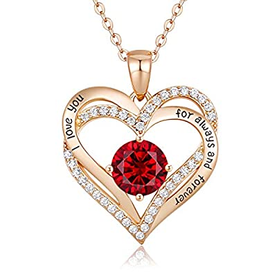 CDE Forever Love Heart Necklace 925 Sterling Silver Rose Gold Plated Birthstone Pendant Necklaces for Women with 5A Cubic Zirconia Jewelry Birthday Gift