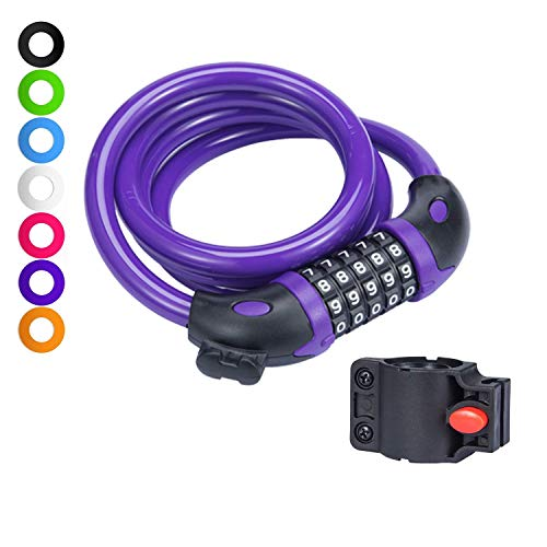 willceal Bike Lock Bicycle Chain Lock,with 5-Digit Resettable Number and Mounting Bracket,Combination Coiling Cable Lock Best for Bicycle Outdoors - 4 Feet x 1/2 Inch (Purple)