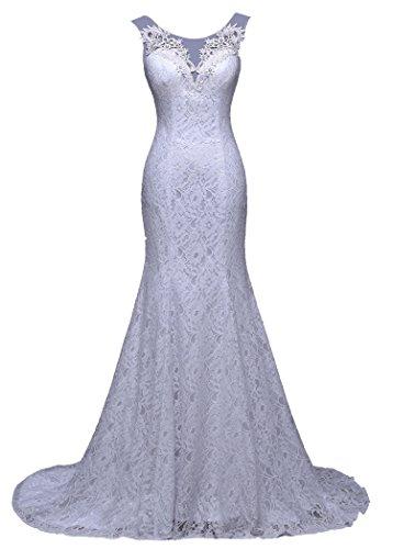 Unbekannt NEU Brautkleid Spitze Braut Kleid Hochzeit Schleppe Strass Meerjungfrau 34 36 38 40 Mermaid (38, Weiß)