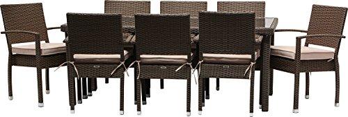 IB-style - juego de protectores de pantalla de muebles de 'Málaga' con tapa | 2 combinaciones | 2 coloures | Todas las patas de mesa con pie de apoyo regulable de disponen de un | Sillas apilables de ratán sintético de muebles de jardín de juego de construcción de mimbre de jardín de grupo, aluminio y mimbre, Braun Browncord, 18 piezas