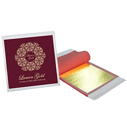 24 Karat Edible Gold Foil 25 Sheets 8 x 8 cm (3.15x3.15 inches) Pure Genuine Gold Leaf Sheets for Desserts, Cake, Food, Spa, Facials, Art & Crafts, Gilding, Drinks, Deco, DIY Projects