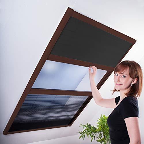 Kombi Dachfenster-Plissee - Sonnenschutz & Fliegengitter für Dachfenster 110 x 160 cm (für Fenster bis max. 100 x 154 cm) | brauner Rahmen